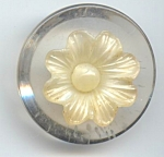 Clear Lucite And White Plastic Flower Button