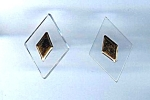 Set Of 2 Older Clear Lucite Diamond Shaped Buttons