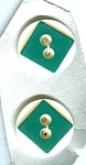 Art Deco Type Green White Lucite Buttons