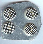 Very 1960's Black And White Checkered Plastic Buttons