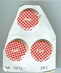 Very 1960's Red And White Checkered Plastic Buttons