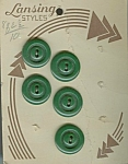 5 Green Lansing Vintage Plastic Buttons