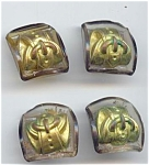 4 Bakelite & Metal Buckle Buttons