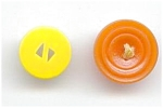 2 Bakelite Buttons - Yellow & Orange