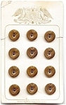 12 Mint On Card Brown Bakelite Buttons