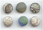 6 Various Vintage Fabric Buttons