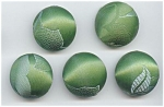5 Green Damask Vintage Fabric Buttons