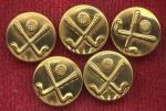 Set Of 5 Brass Golfing Blazer Buttons