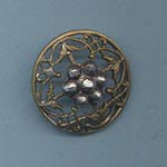 Delicate Brass Filigree Button W/ Cut Steels