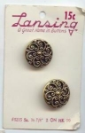 Mint On Card Pierced Brass Lansing Buttons