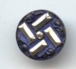 1 Piece Cut Steel Blue Tinted Button
