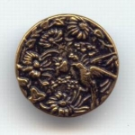Low Relief Tinted Bird & Flower Button