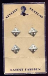 4 Mint On Card Triangular Rhinestone Buttons