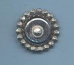 One Piece Silver Metal Piecrust Edge Button