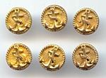 Set Of 6, Golden Metal Anchor Design Buttons