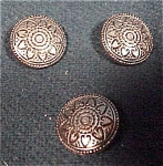 3 Ethnic Looking Silver Metal Buttons