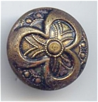 Stamped Brass Clover Design Button
