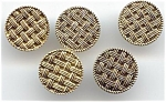 Set Of 5 Metal Basketweave Design Buttons