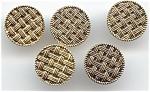 Set Of 5 Metal Basketweave Design Buttons