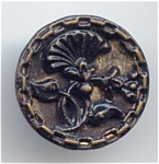 Painted Metal Jacobean Floral Button