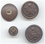 4 Older Metal Military Buttons