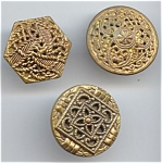 3 Different Vintage Pierced Metal Buttons