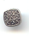 1960's 1 Piece Metal Tic Tac Toe Button
