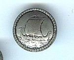 Vintage Pewter Viking Ship Button