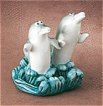 Dolphins In Love On Wave Ceramic Salt Pepper Shakers