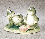 Frogs On Lilly Pad Ceramic Salt And Pepper Shakers Set