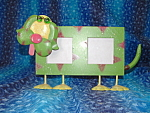 Tin Dog Picture Frame Holder 2x2 Green & Pink