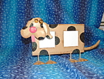 Tin Dog Picture Frame 2x2 Brown & Black