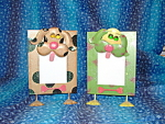 Tin Dog Picture Frame 3x5 Green & Pink