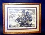 Ship Print Framed Under Glass