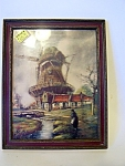 Framed Windmill, Village Print, Under Glass