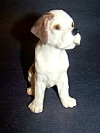 Dog Figurine, White, Brown Spots