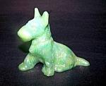 Scotty Dog Figurine, Jadite Carnival/irridized Glass
