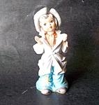 Girl With Hat Figurine,unglazed Porcelain