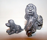 Metal Figurine, Ugly Lady, Child And Dog. 2 Pc.