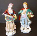 Colonial Man, Woman Figurines