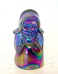 Blue Carnival Glass Amish Lady Figurine