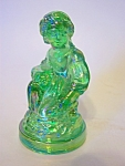 Lt. Green Carnival Finish Glass Lady Figurine