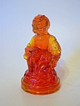 Lady ,reddish Orange Amberina Glass Figurine