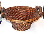 Woven Reed Basket, Wood Handles