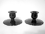 Black Glass Candlestick Candlesticks Pr.