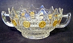 Crystal Handled Bowl With Gold Medallions