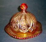 Golden Amberina Carnival Butterdish Heirloom