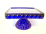 Cake Stand, Square, Cobalt Glass