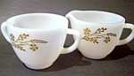 Meadow Gold Creamer Sugar Set, Federal Glass