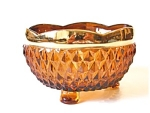 Amber Diamond Point Footed Bowl